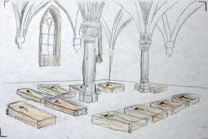Les cisterciennes croquis préparatoire © Régis Perray