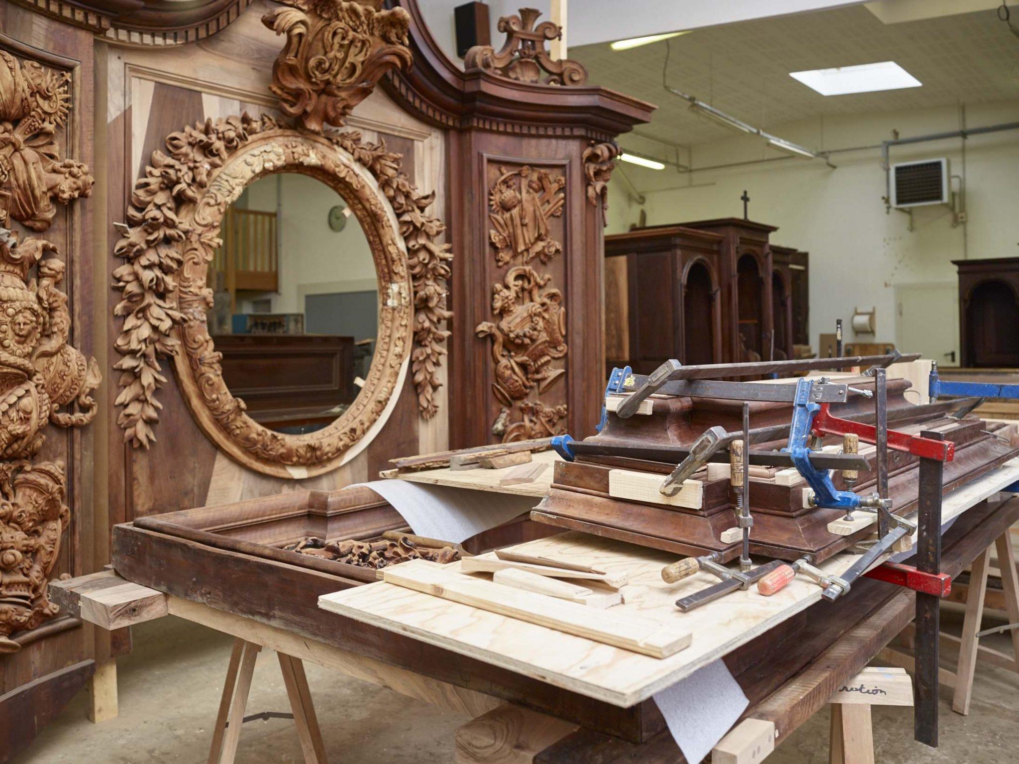 Les Ateliers de la Chapelle - Bordeaux - Eglise Saint-Paul - Restauration du retable du Sacré-Coeur - En cours d'intervention en atelier