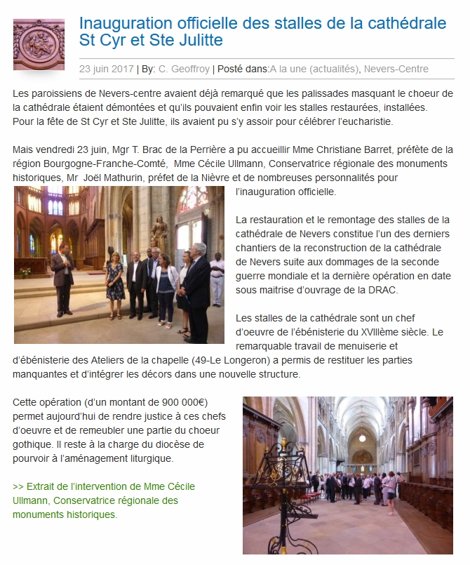 Les Ateliers de la Chapelle - Inauguration stalles de Nevers -article diocèse de Nevers