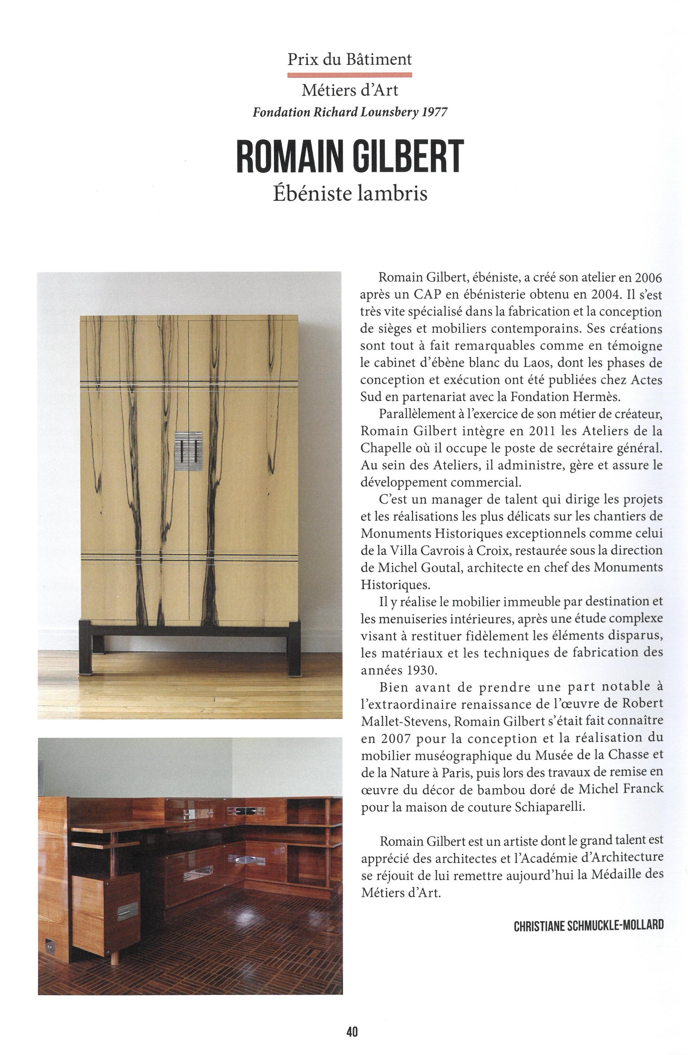 Les Ateliers de la Chapelle - Romain Gilbert reçoit la médaille des Métiers d'Art