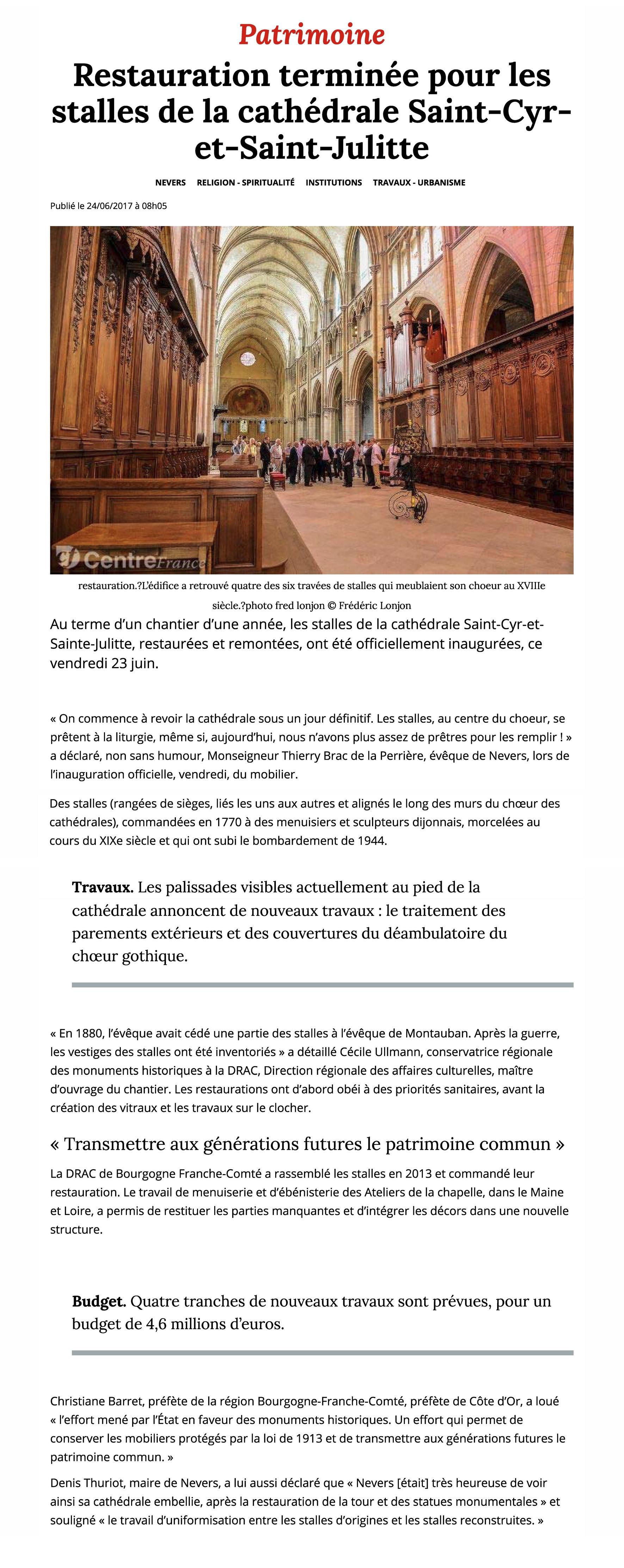 Les Ateliers de la Chapelle Restauration terminée pour les stalles de la cathédrale Saint-Cyr-et-Saint-Julitte - Nevers (58000) - Le Journal du Centre