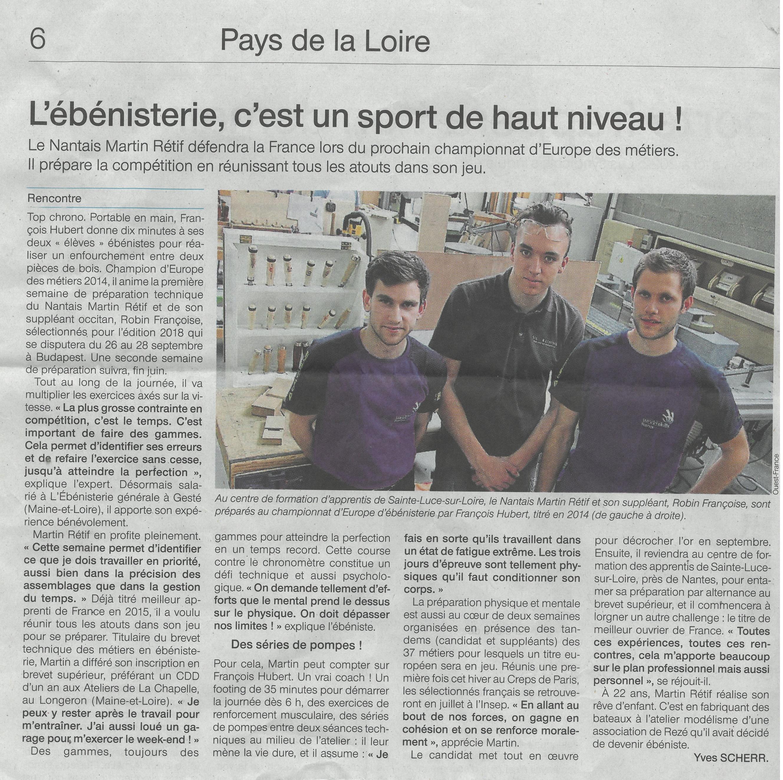 Euroskills, Martin Rétif, salarié des Ateliers de la Chapelle, défendra la France au championnat d'Europe des métiers