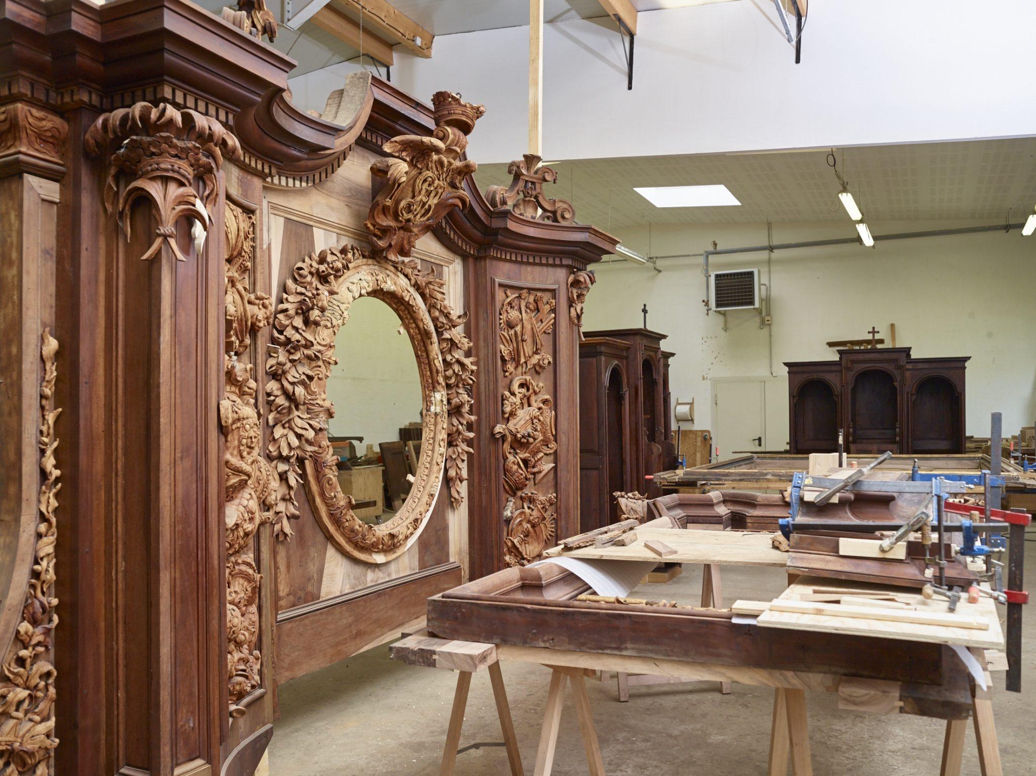 Vue intérieur de l'atelier de restauration