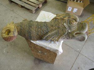 Restauration des décors du Belem - poisson après intervention 1