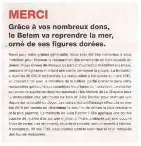 Restauration des ornements du Belem - merci aux mécènes - extrait de la newsletter de la Fondation Belem