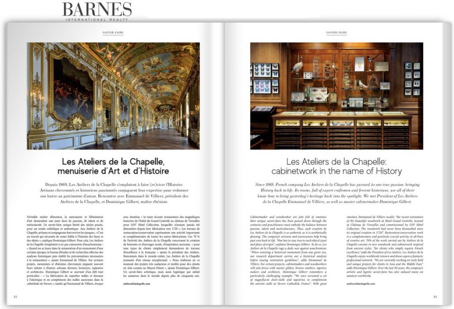 Barnes Magazine - printemps été 2020 - Savoir-faire - Ateliers de la Chapelle