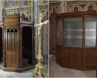 Confessionnal et vitrine du Trésor de la cathédrale d'Orléans - Ateliers de la Chapelle