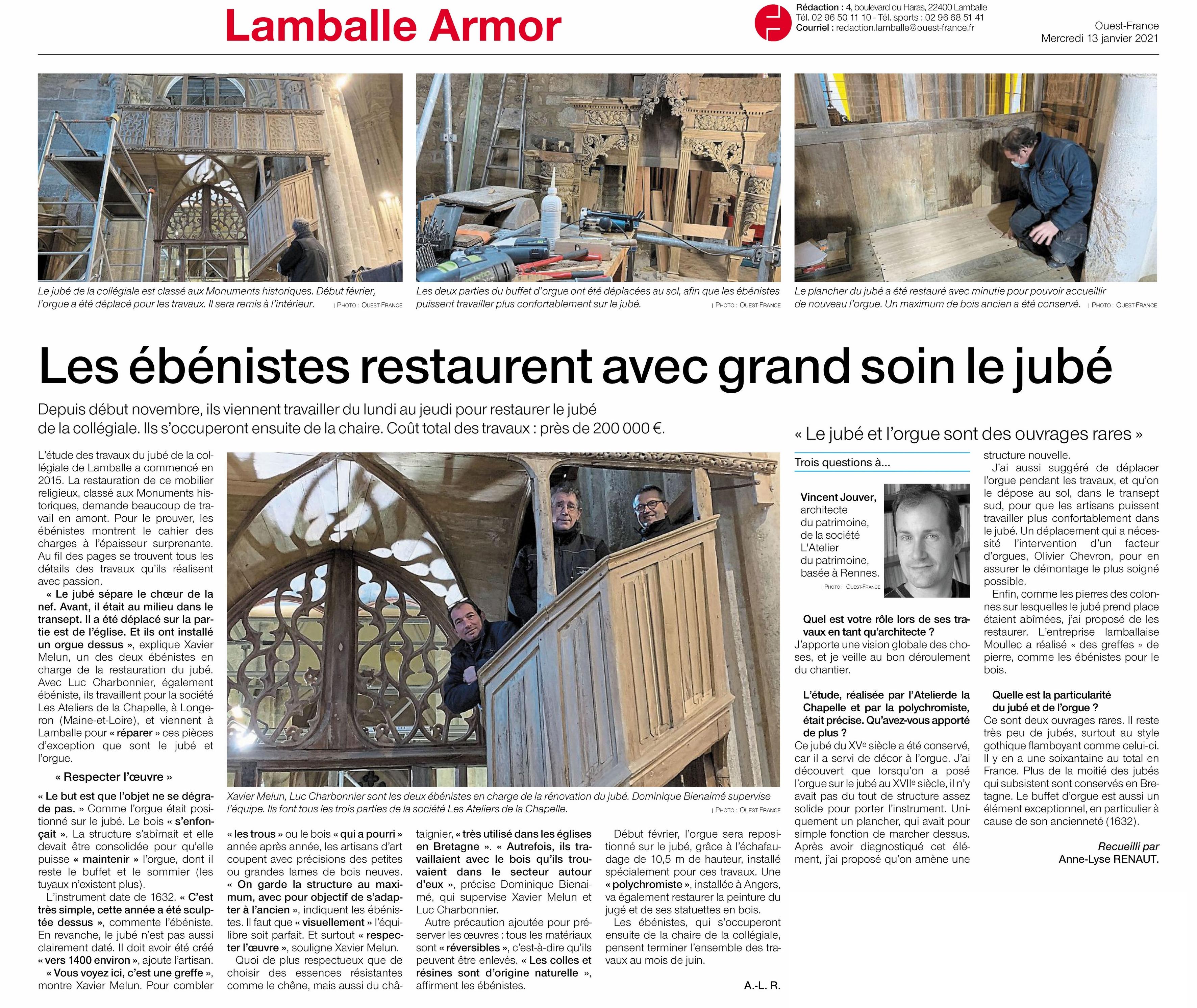 article Ouest France Lamballe-Ateliers de la Chapelle